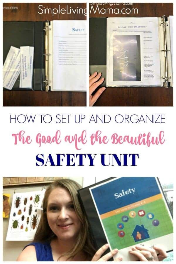 Learn how to easily set up and organize the Good and the Beautiful Safety unit using binders and page protectors.