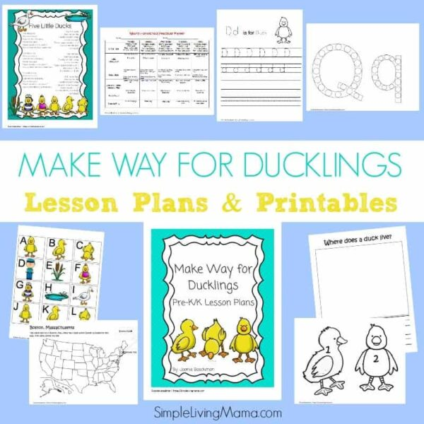 Make Way for Ducklings Pre-K/K Lesson Plans and Printables