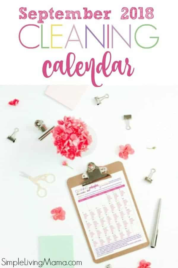 September 2018 Cleaning Calendar