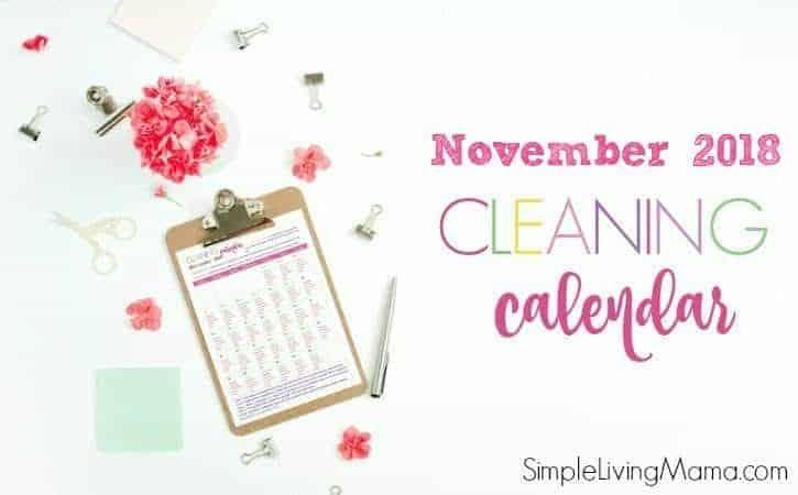 November 2018 Cleaning Calendar