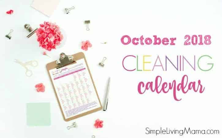 October 2018 monthly cleaning calendar