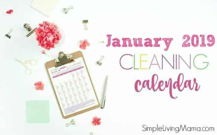 January 2019 Cleaning Calendar