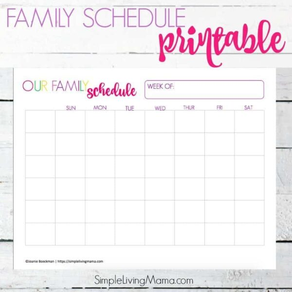 Organize your family's schedule with this printable family weekly schedule template.