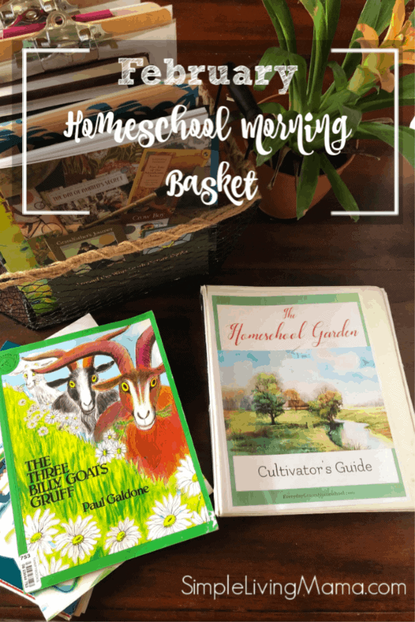 Come take a peek at our homeschool morning basket! This morning basket is geared towards preschool all the way up to fourth grade. We use My Father's World, Beautiful Feet Books, and the Homeschool Garden during our morning time!