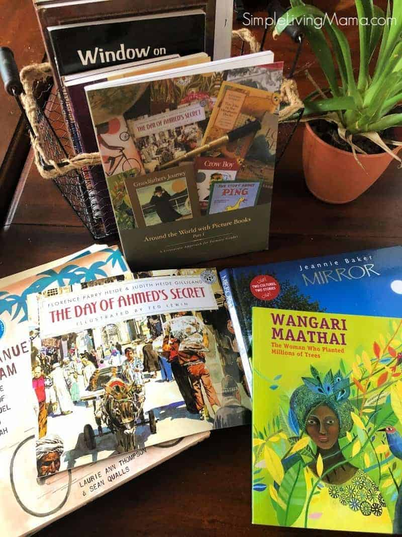 Beautiful Feet Books Around the World with Picture Books Part 1 African books on a table.