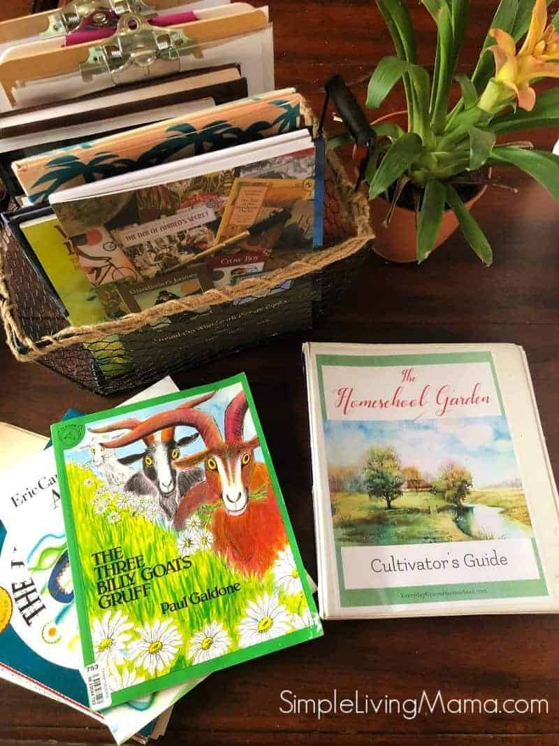 February homeschool morning basket that includes preschool books, Beautiful Feet Books, and Homeschool Garden morning time plans.