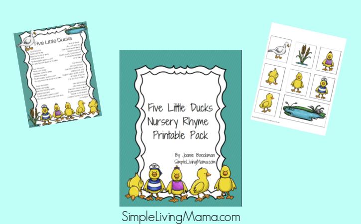five little ducks nursery rhyme pack