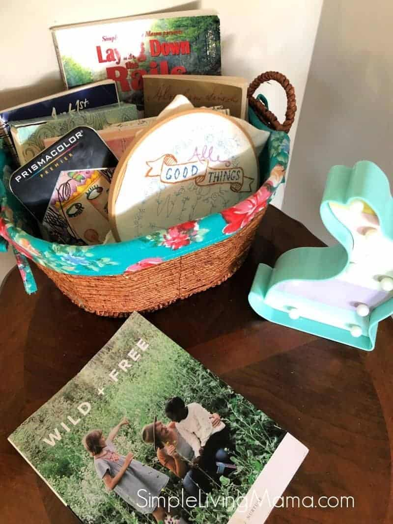 mother's morning basket on table.
