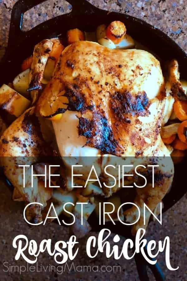 This is the easiest cast iron skillet roast chicken and vegetables recipe you will make! This is an amazing one dish easy chicken dinner.