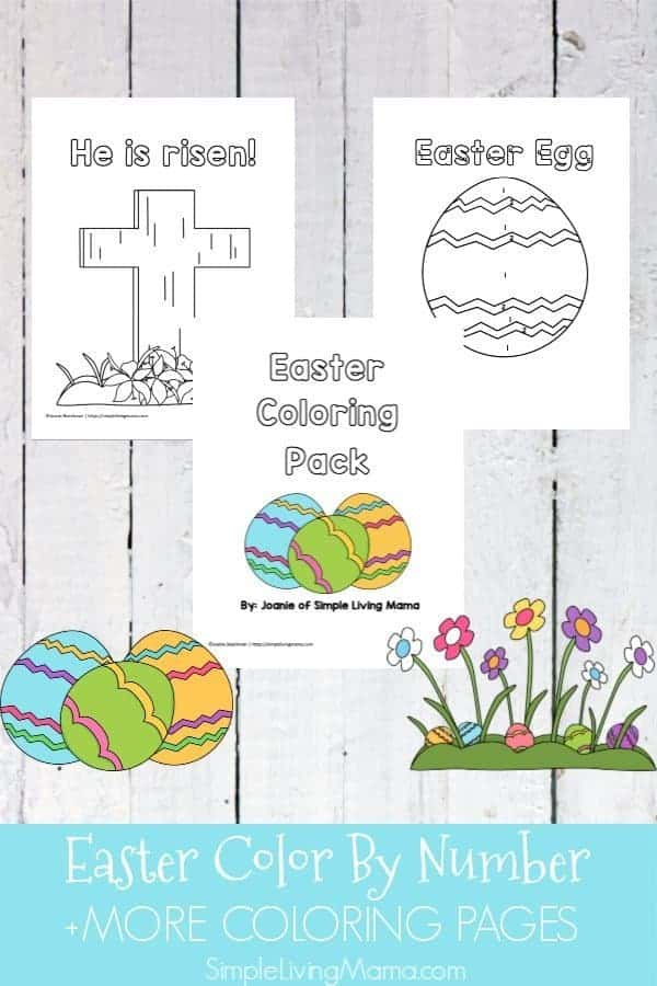This Easter coloring pack includes an Easter egg color by number page and more Easter coloring pages for kids.
