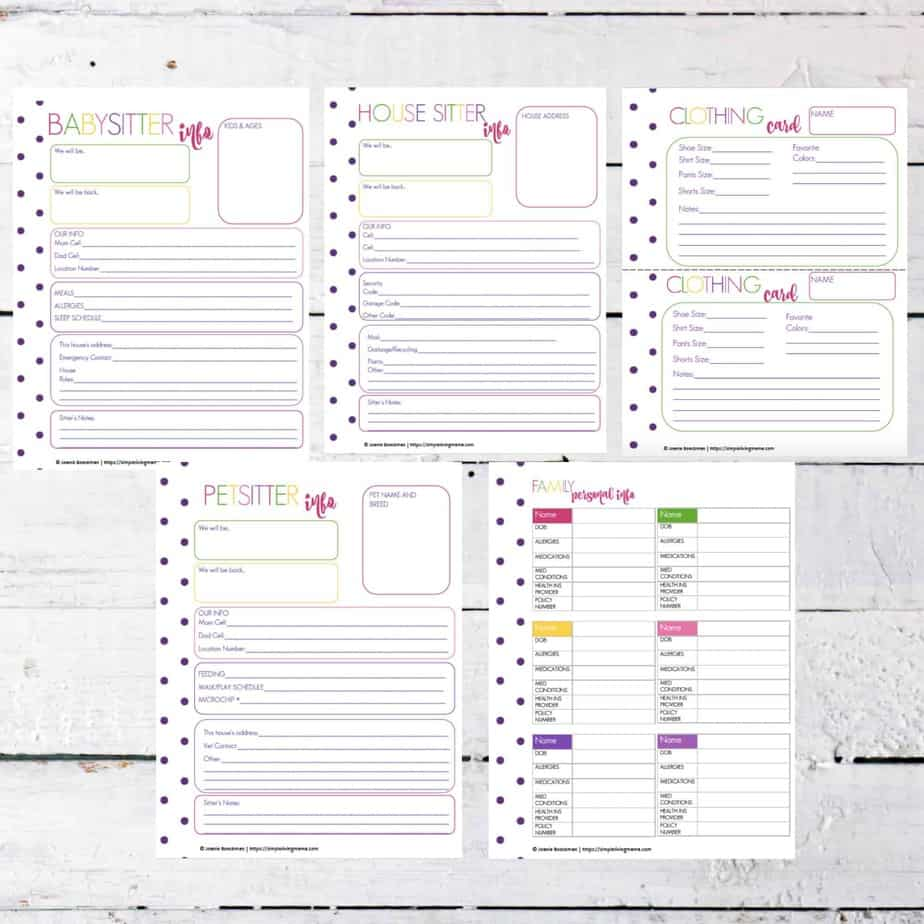 Family management printable pack