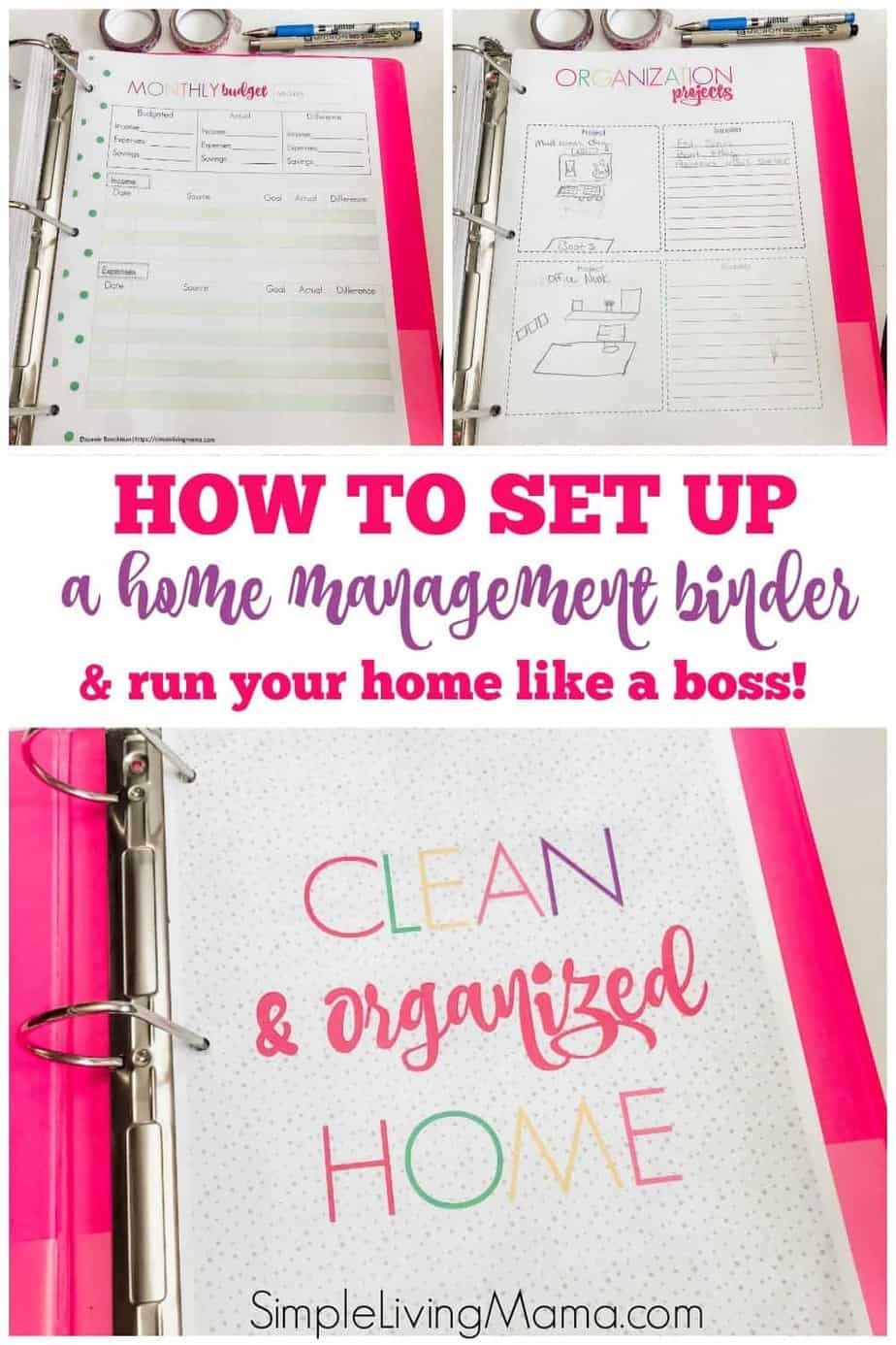 How to set up a home management binder with colorful home binder printables