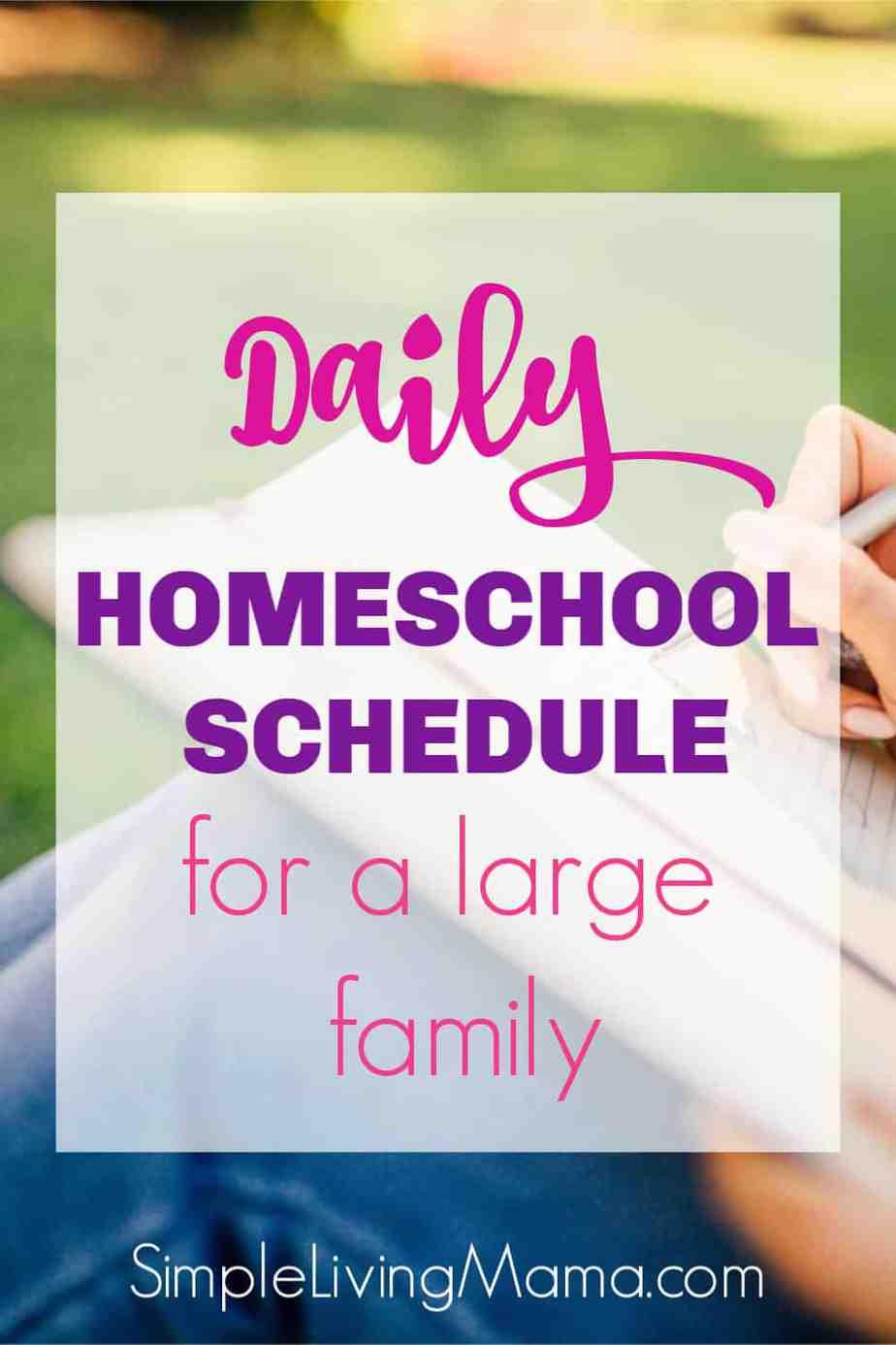 This daily homeschool schedule for a large family shows how one large family gets all of the homeschool work done!
