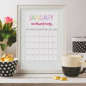 2020 printable colorful calendar