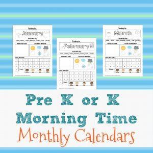 Preschool or Kindergarten Monthly Morning Time Calendars