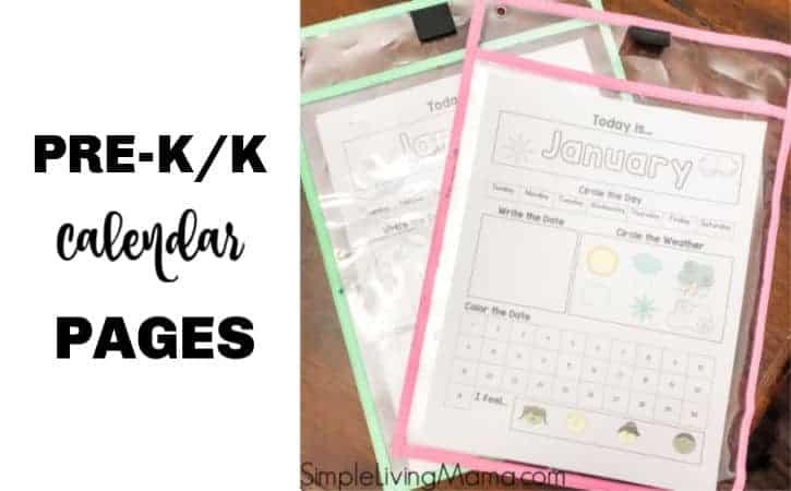 Preschool Calendar Printable