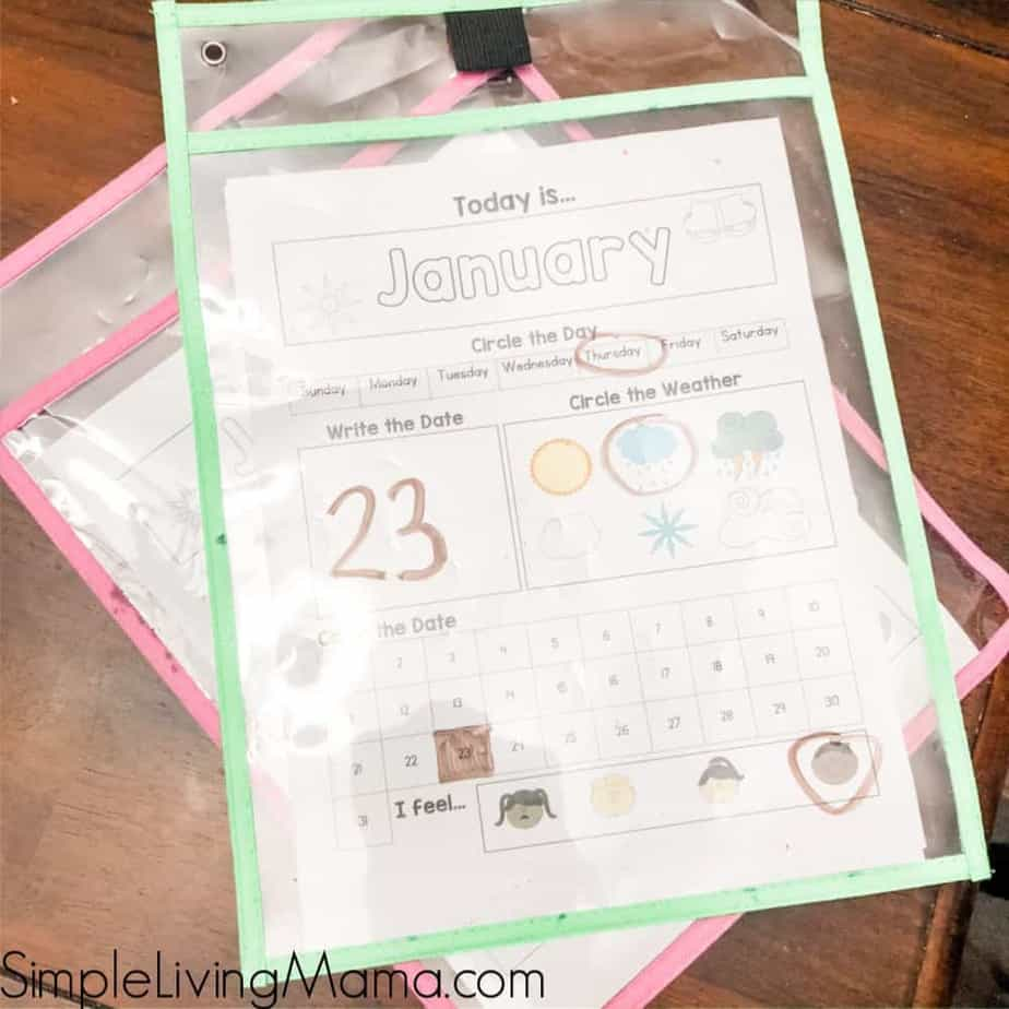 Preschool monthly calendar printables