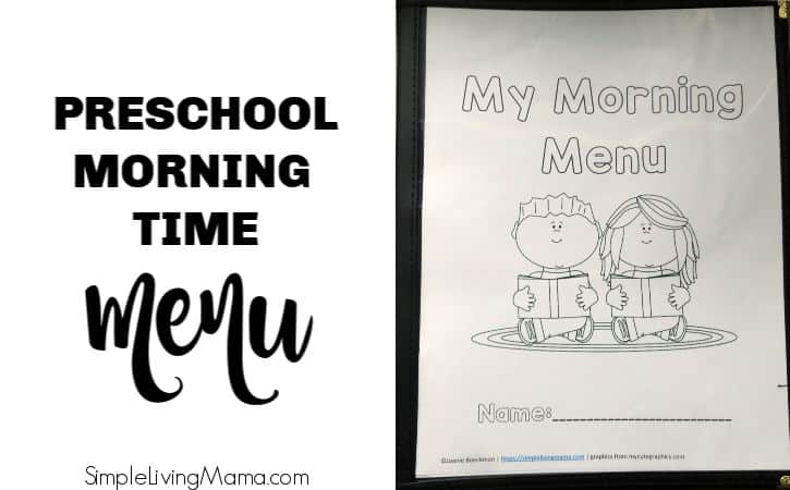 Preschool Morning Time Menu with FREE Printable Morning Time Cover
