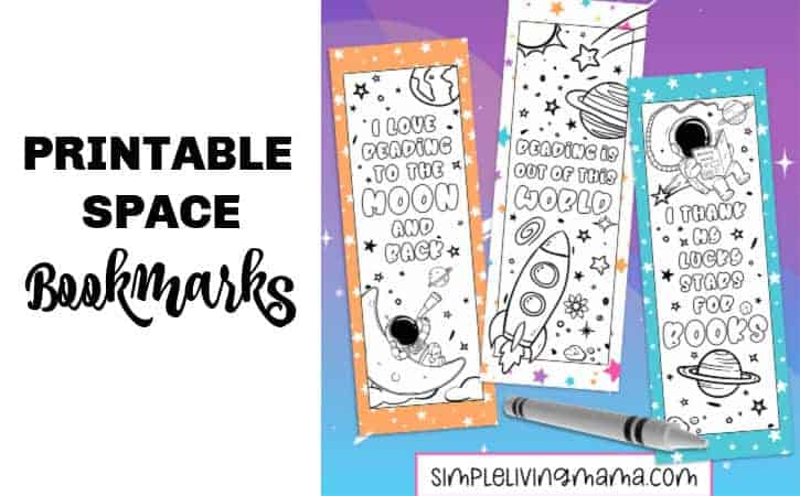 Printable Space Bookmarks To Color
