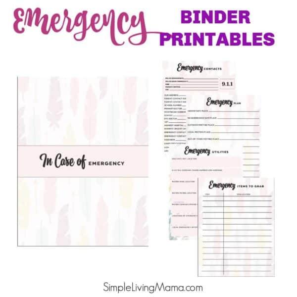 Emergency Binder Printables
