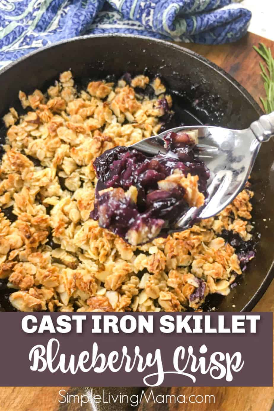 Delicious blueberry crisp made in a cast iron skillet.