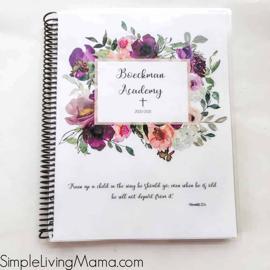 Catholic floral homeschool personalized cover