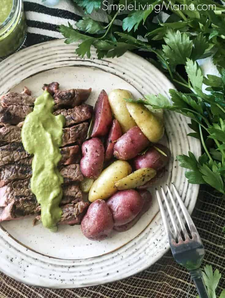 Cast Iron Seared Steak with Chimichurri Sauce
