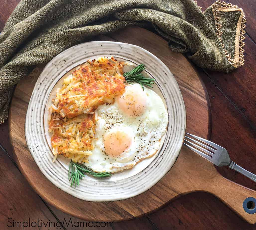 hash browns and eggs on a plate