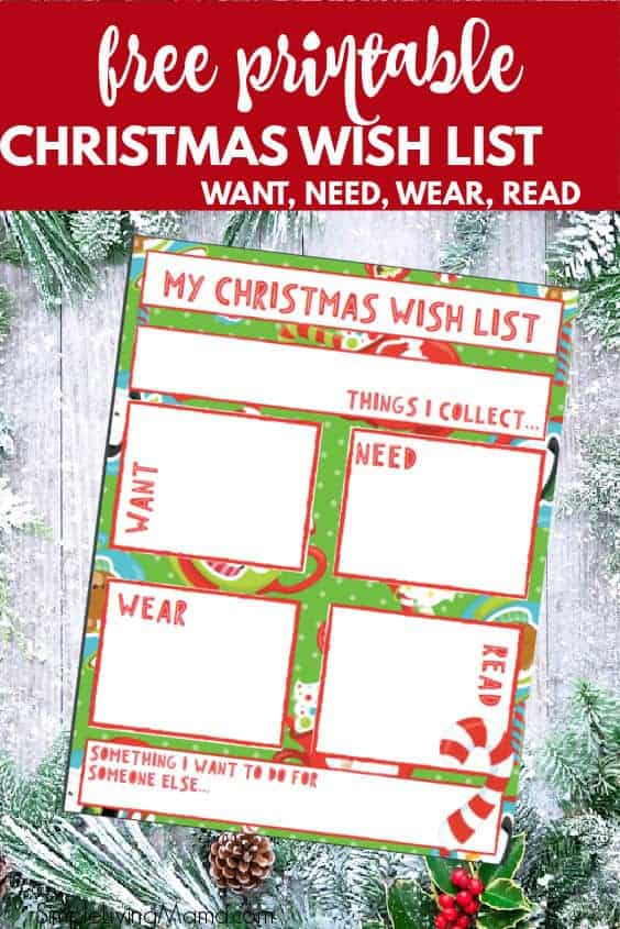 Free printable Christmas wish list