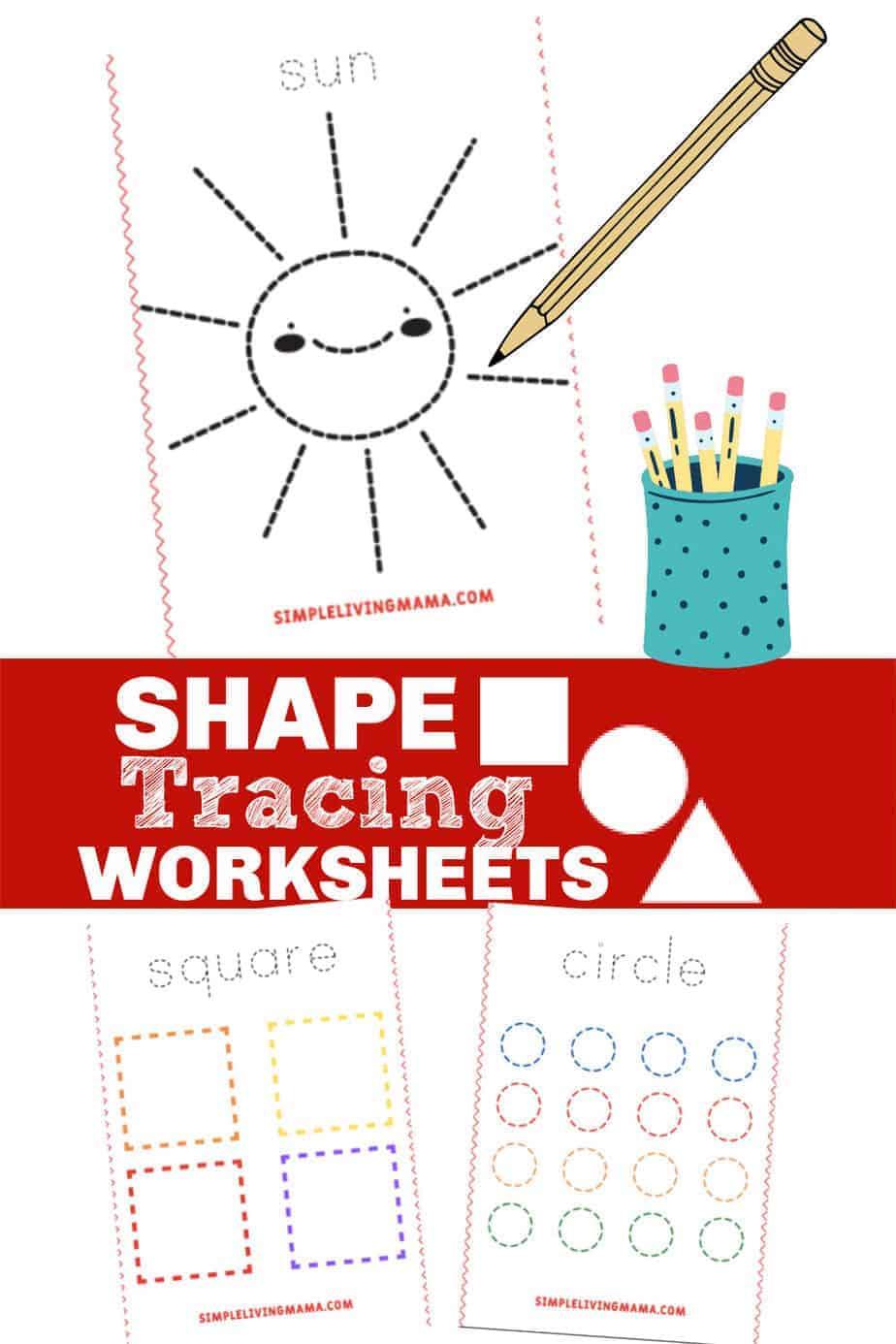 Printable Shape Tracing Worksheets for Preschool and Kindergarten