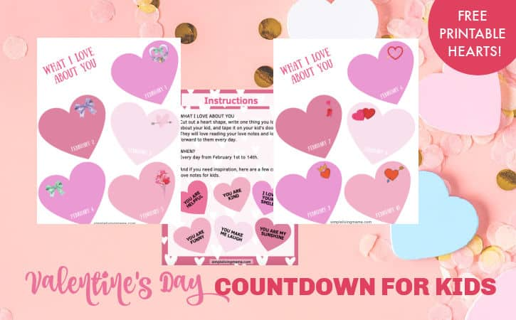 Valentine's Day Countdown for Kids with Free Printable Hearts