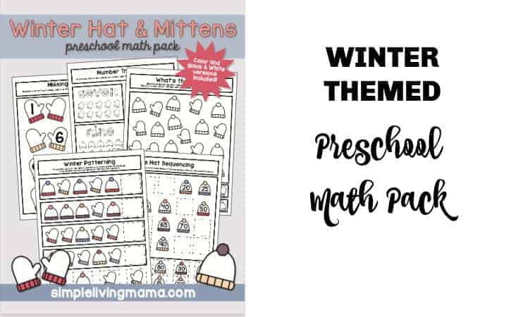 Free Printable Winter Math Worksheets for Preschool or Kindergarten